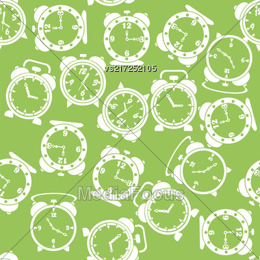 Silhouettes Of Clock Icon Seamless Pattern Isolated On Green Background Stock Photo