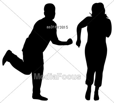 Silhouettes Of Dancing Men And Women. Vector Illustration Stock Photo