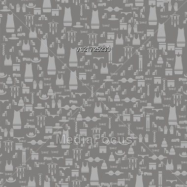 Silhouettes Of Different Clothes Isolated On Grey Background. Seamless Pattern Stock Photo