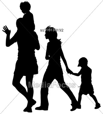 Silhouettes Family On White Background. Vector Illustration Stock Photo
