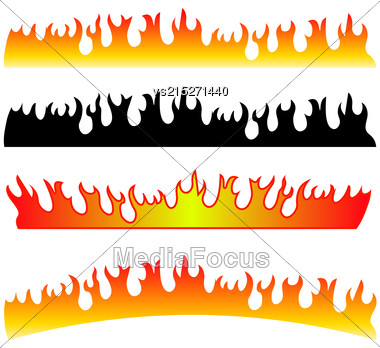 Silhouettes Of Fire Isolated On White Background Stock Photo