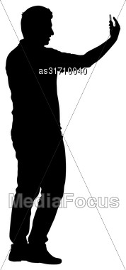 Silhouettes Man Taking Selfie With Smartphone On White Background Stock Photo