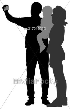 Silhouettes Man And Woman With A Child, Make Selfie Smartphone On White Background. Vector Illustration Stock Photo