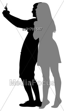 Silhouettes Man And Woman Taking Selfie With Smartphone On White Background. Vector Illustration Stock Photo