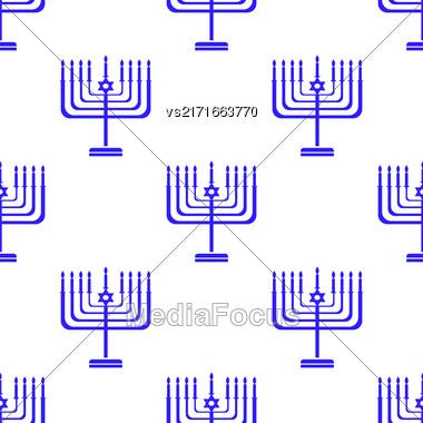 Silhouettes Of Menorah Seamless Pattern. Jewish Symbol Of Religion Stock Photo