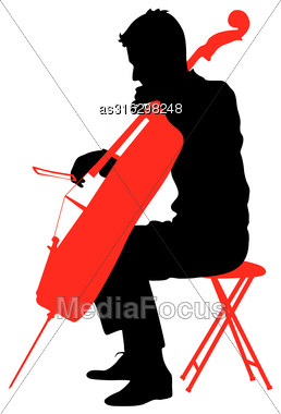 Silhouettes A Musician Playing The Cello. Vector Illustration Stock Photo
