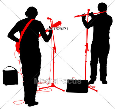 Silhouettes Musicians Plays The Guitar And Flute. Vector Illustration Stock Photo
