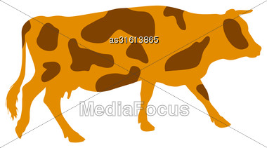 Silhouettes Of Spotted Cow. Vector Illustration Stock Photo