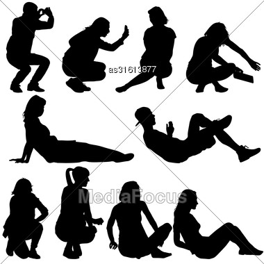 Silhouettes Of People In Positions Lying And Sitting. Vector Illustration Stock Photo