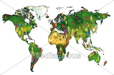 Silhouettes Of People On A World Map Showing The World Population Stock Photo