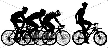 Silhouettes Of Racers On A Bicycle, Fight At The Finish Line Stock Photo
