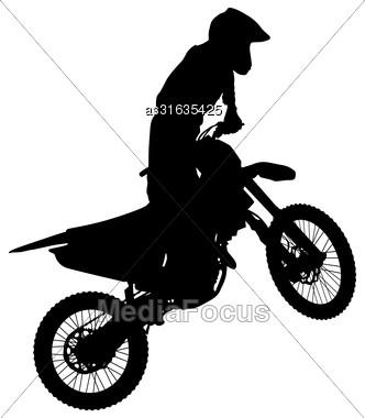 Silhouettes Rider Participates Motocross Championship Vector Illustration Stock Photo