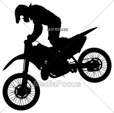 Silhouettes Rider Participates Motocross Championship Vector Illustration Stock Photo