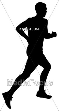 Silhouettes Runners On Sprint, Men. Vector Illustration Stock Photo