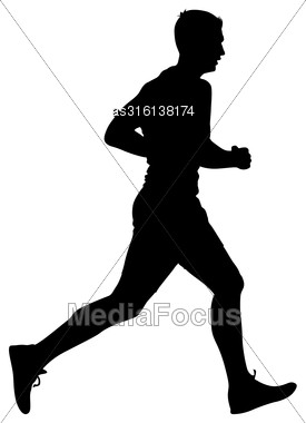 Silhouettes Runners On Sprint, Men. Vector Illustration Stock Photo
