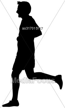 Silhouettes. Runners On Sprint Men Vector Illustration Stock Photo