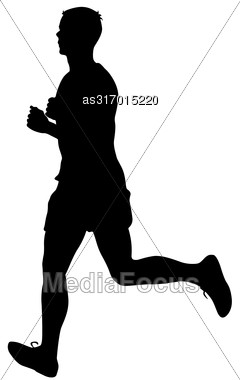 Silhouettes Runners On Sprint Men. Vector Illustration Stock Photo