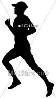 Silhouettes Runners On Sprint Men. Vector Illustration Stock Photo