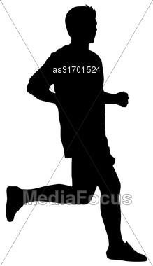 Silhouettes. Runners On Sprint Men Vector Illustration Stock Photo