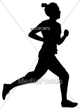 Silhouettes Runners On Sprint, Women. Vector Illustration Stock Photo