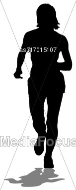 Silhouettes. Runners On Sprint Women Vector Illustration Stock Photo