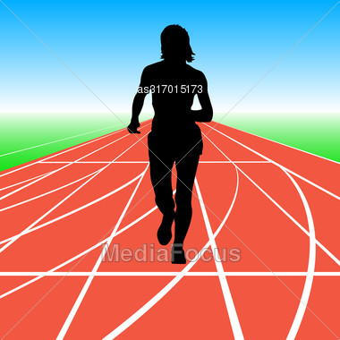 Silhouettes. Runners On Sprint Women Vector Illustration Stock Photo