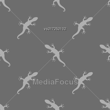 Silhouettes Of Salamander Seamless Pattern On Grey Background Stock Photo