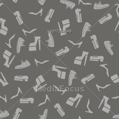 Silhouettes Of Shoes Seamless Pattern Isolated On Grey Background Stock Photo