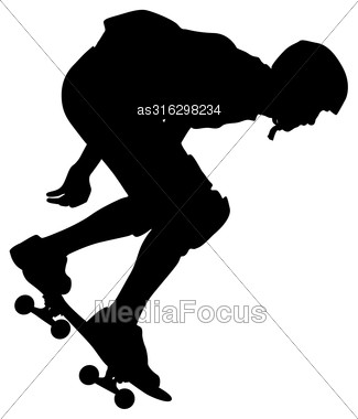 Silhouettes A Skateboarder Performs Jumping. Vector Illustration Stock Photo