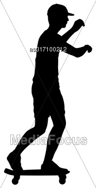 Silhouettes Skateboarder Performs Jumping On A White Background Stock Photo