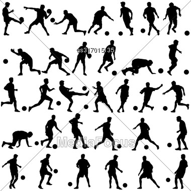 Silhouettes Of Soccer Players With The Ball. Vector Illustration Stock Photo