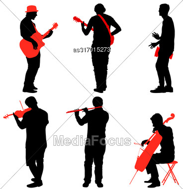 Silhouettes Street Musicians Playing Instruments. Vector Illustration Stock Photo