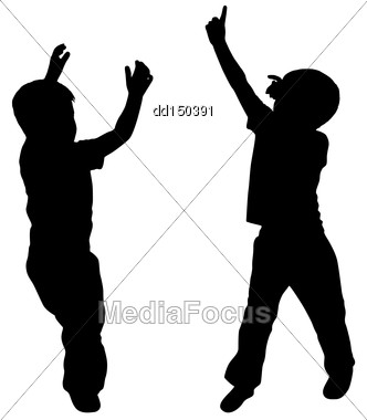 Silhouettes Of Two Little Boys Who Play Stock Photo