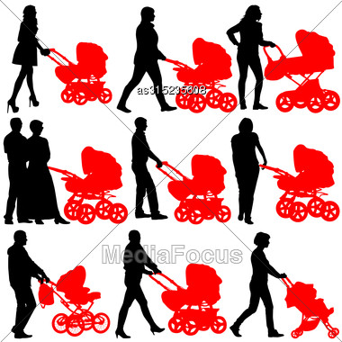 Silhouettes Walkings Mothers With Baby Strollers. Vector Illustration Stock Photo