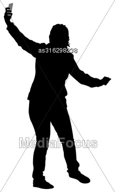Silhouettes Woman Taking Selfie With Smartphone On White Background. Vector Illustration Stock Photo