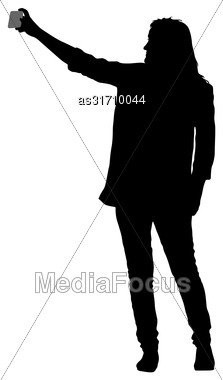 Silhouettes Woman Taking Selfie With Smartphone On White Background Stock Photo