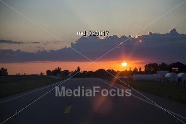 Sillouette Sunset Saskatchewan Orange Color Storm Clouds Stock Photo