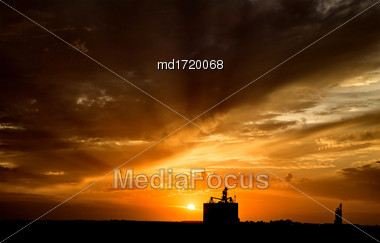 Sillouette Sunset Saskatchewan Orange Color Storm Clouds Stock Photo