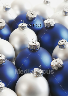 Silver & Blue Christmas Tree Ornaments Stock Photo