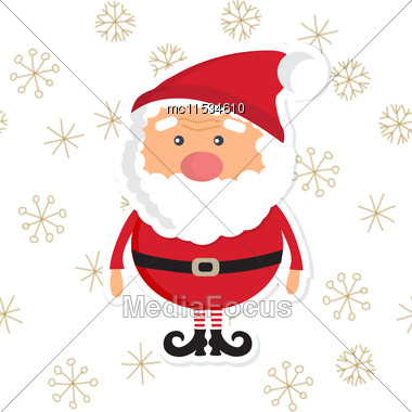 Silver Christmas Landscape Background With Santa Claus, Snowfalls And Snowflakes Stock Photo