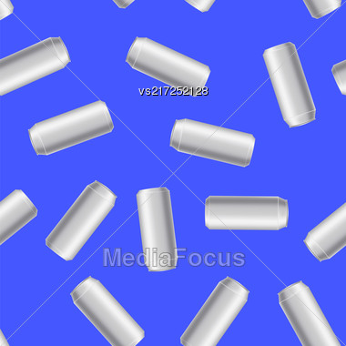 Silver Drink Can Seamless Pattern Isolated On Blue Background Stock Photo