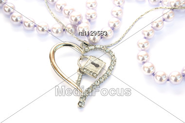 Silver Heart,key,lock, Pearls Stock Photo
