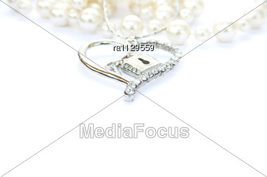 Silver Heart With Key,lock,pearls Stock Photo
