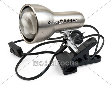 Silver Lamp With Energy Saving Lamps On The Black Clip Stock Photo