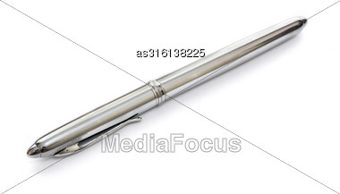 Silver Metal Pen Isolated On White Background Stock Photo