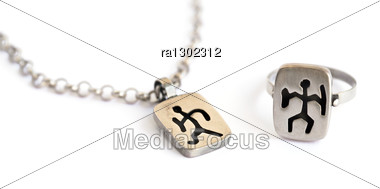 Silver Necklace And Ring With Ancient Armenian Pictogram Isolated On White Background. Stock Photo