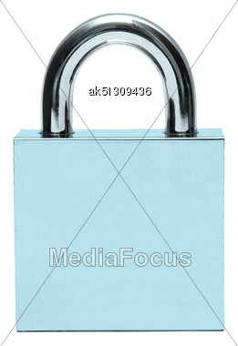 Silver Padlock Isolated On White Stock Photo