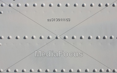 Silver Painted Metal Aircraft Background With Rivets. Stock Photo