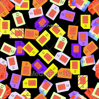 SIM Cards Seamless Pattern On Black Background Stock Photo