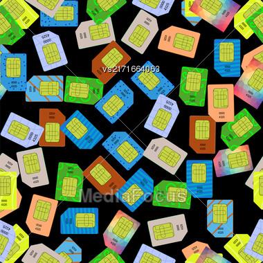 SIM Cards Seamless Pattern On Black Background Stock Photo